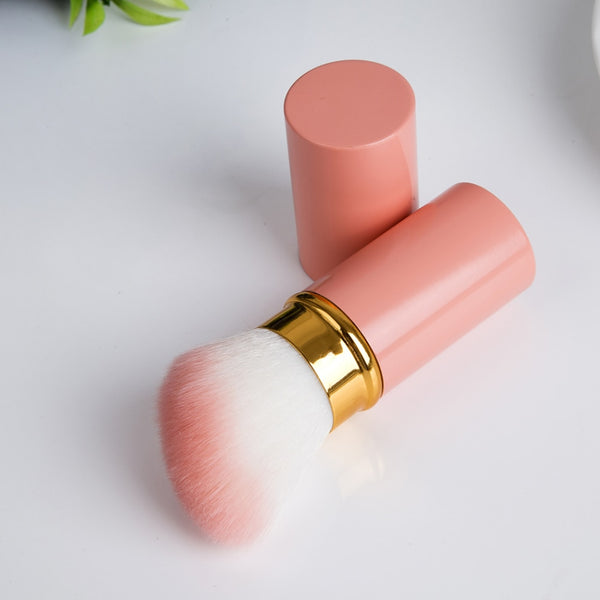 1pc Pink Color Professional Makeup Brushes Retractable Blusher