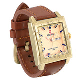 Lancardo Men Watches 2018 Top Selling Fashion Male Clock Gold Square