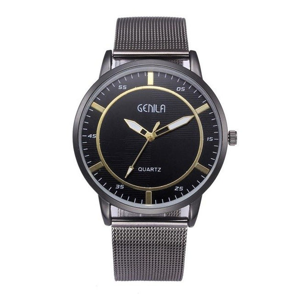 Business Fashion Classic Gold Quartz Watch Men Stainless Steel #TT