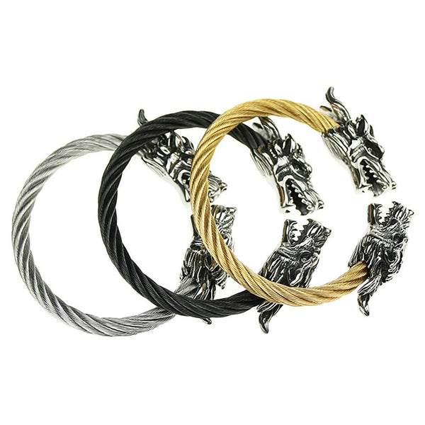 1 pc Handmade Weave Stainless Steel Strap Dragon Bracelets Retro