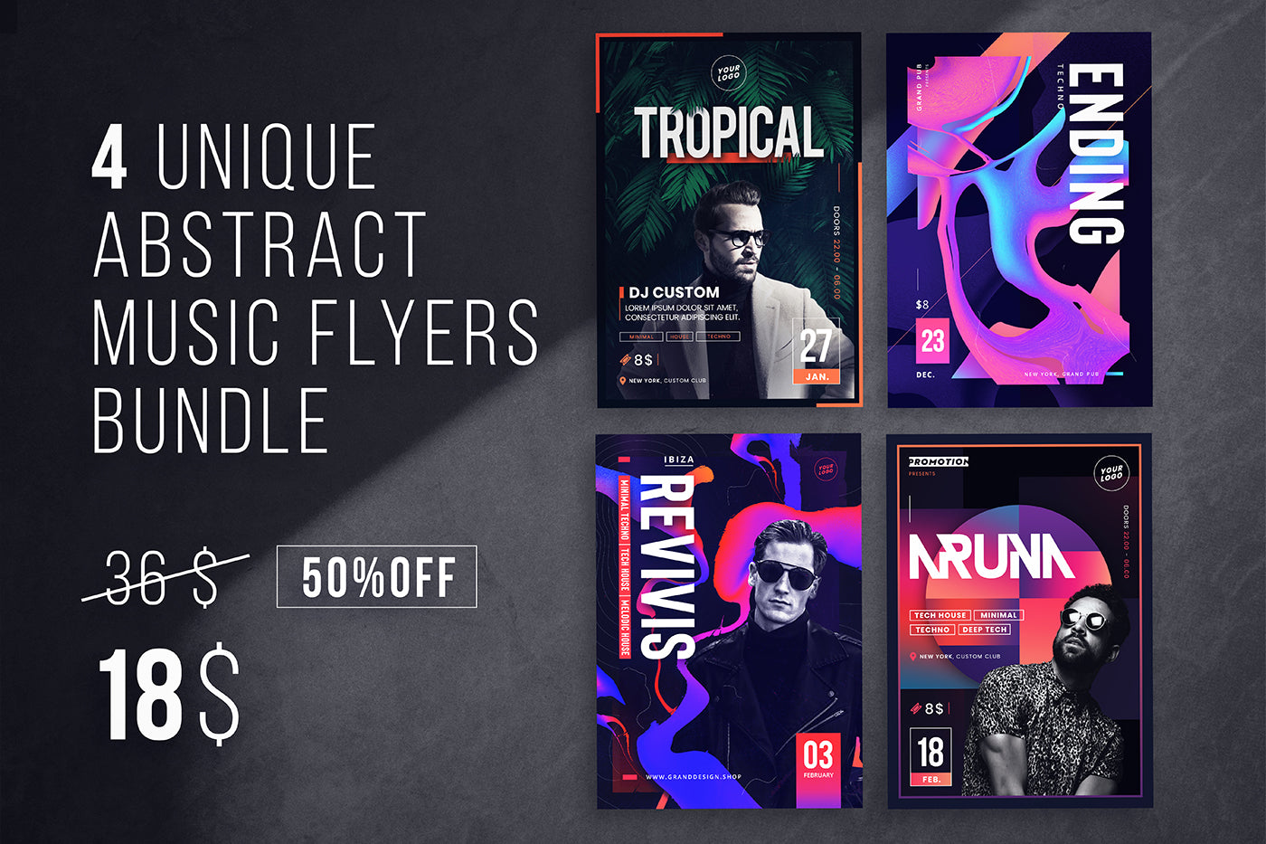 4 Unique Music Flyers Bundle