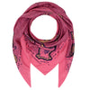 100% silk scarf from Klements in candy floss pink showcases water colored monsters in shades of beige, black, and purple