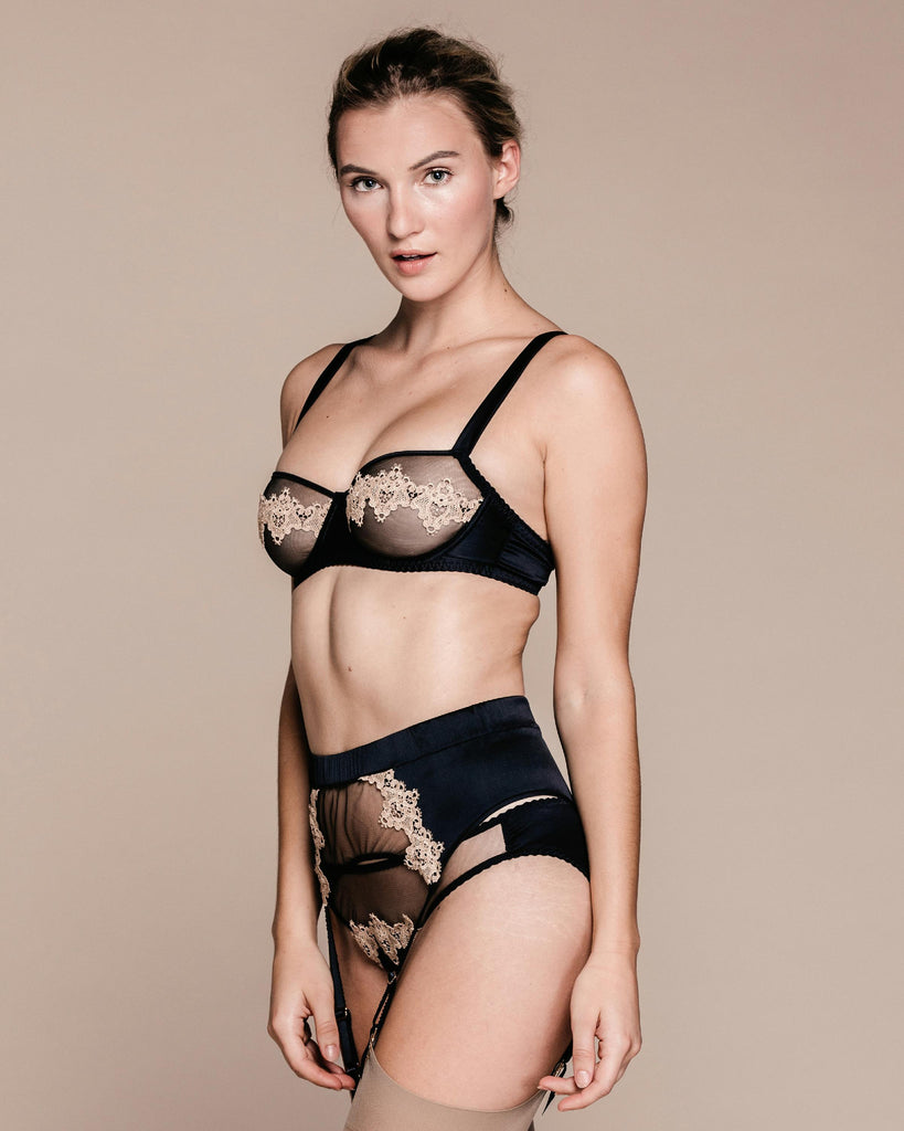 Black and gold silk suspender belt