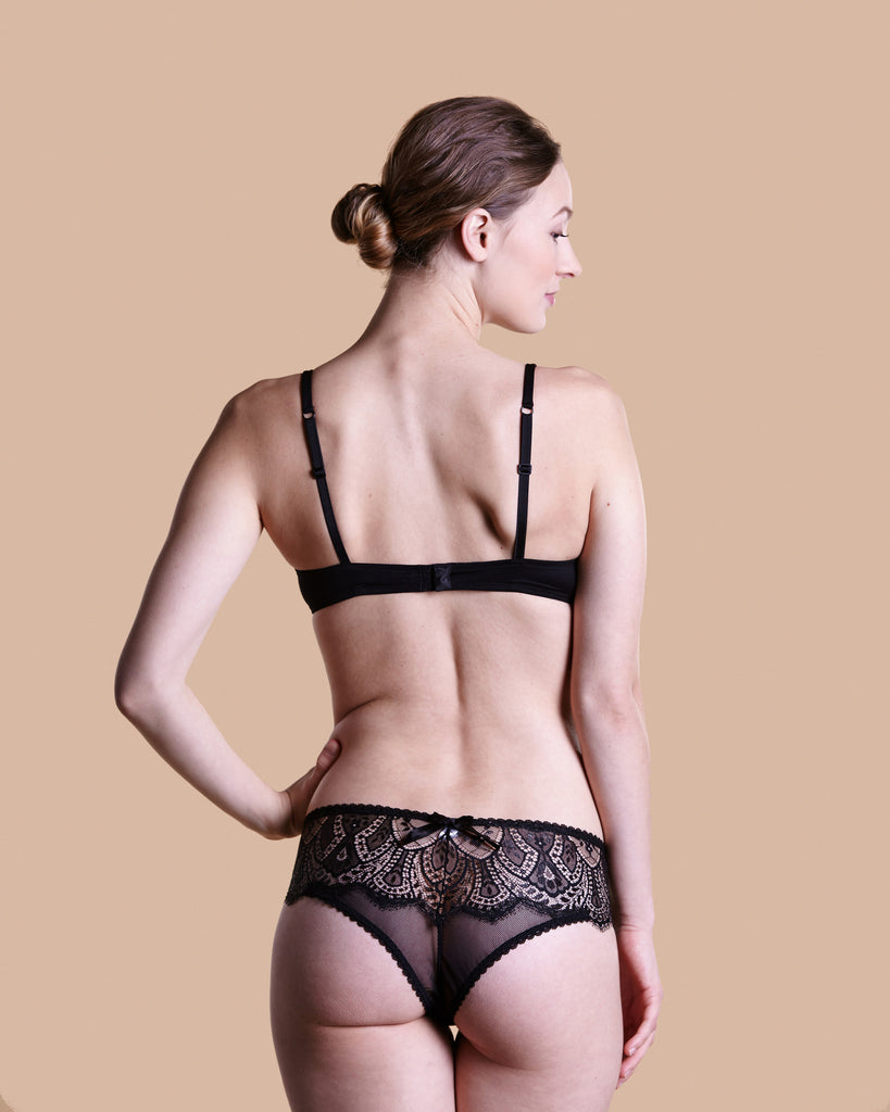 Matching bikini panty is sheer mesh at the front with stunning lace detailing at the sides and rear from Cotton Club