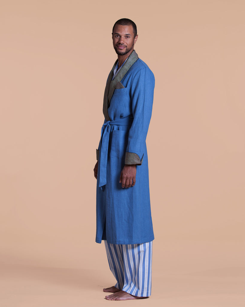 Distinguished pale blue linen robe from Morpho + Luna has long sleeves and an outer tie closure