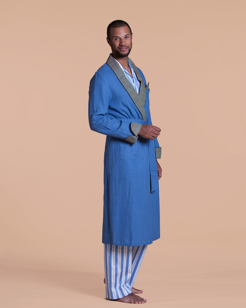Contrasting cuffs, collar & pocket square add style in a mustard & blue stripe robe from Morpho + Luna