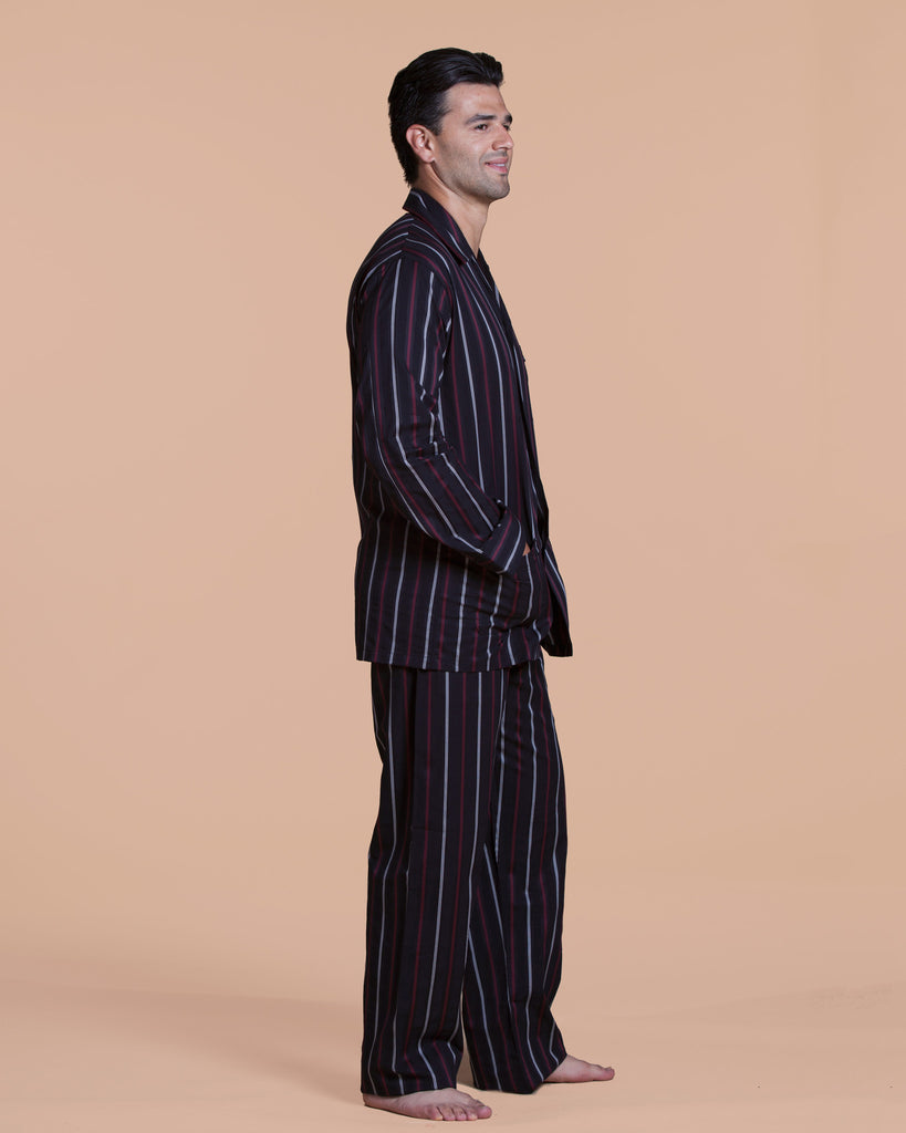 Men's Derek Rose satin stripe pajama is made in a black, red and white striped cotton