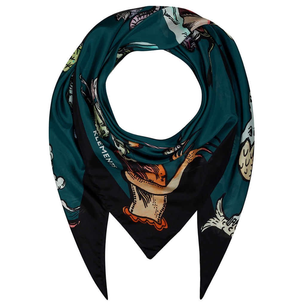 100% silk scarf from Klements has a teal background with sea monsters illustrated in shades of black, ivory, pink, orange and green