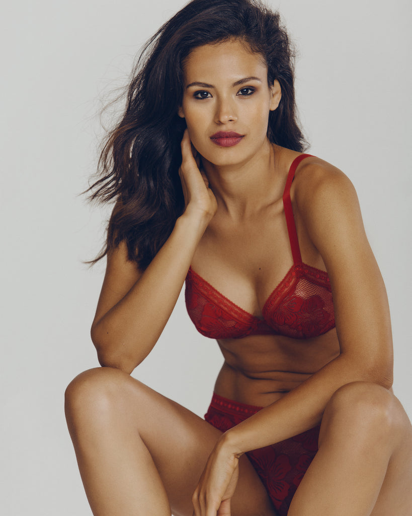 Underwired bra and hipster set is constructed from a sheer red floral lace from Lise Charmel