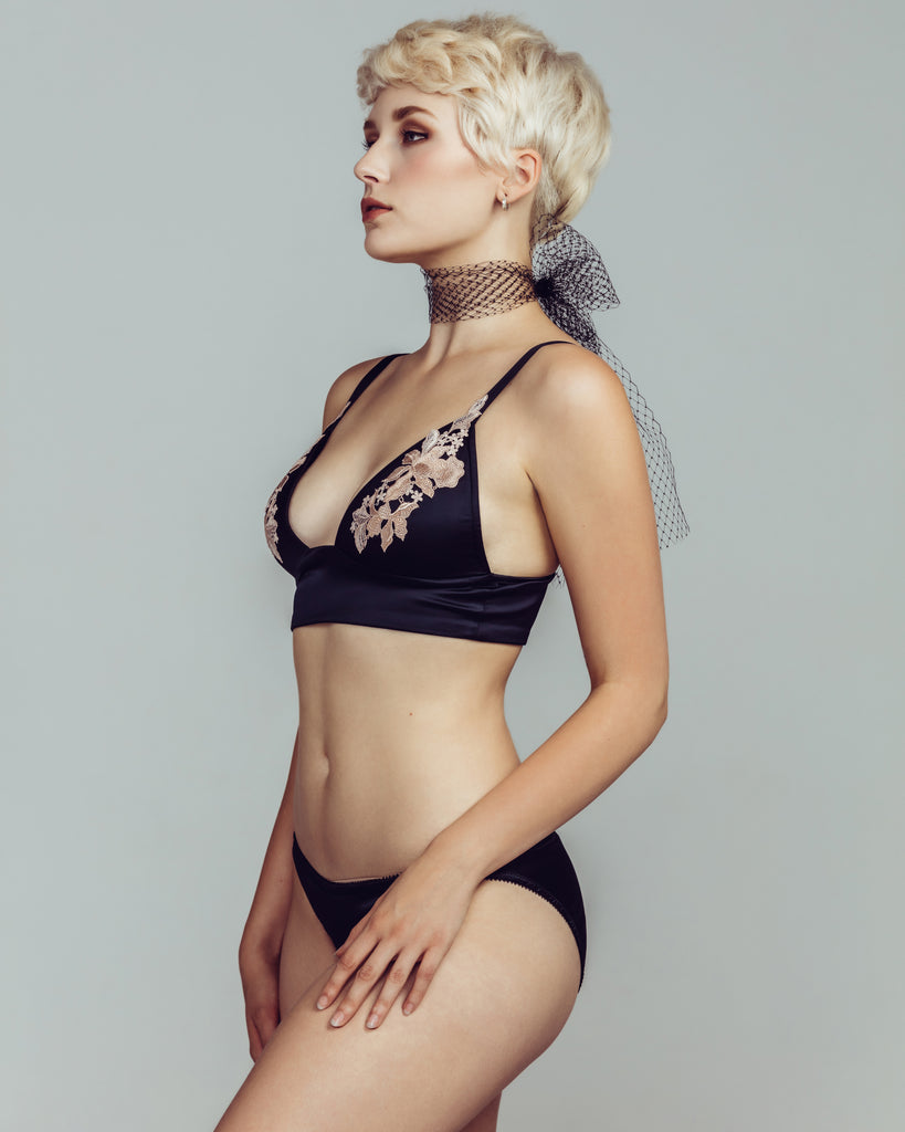 Non-underwired Gloria bra from Cadolle has molded triangle cups, adjustable straps, and a longline black multi-hook band