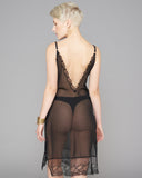 Cadolle's sheer striped Lady slip has a plunging lace-trimmed v back
