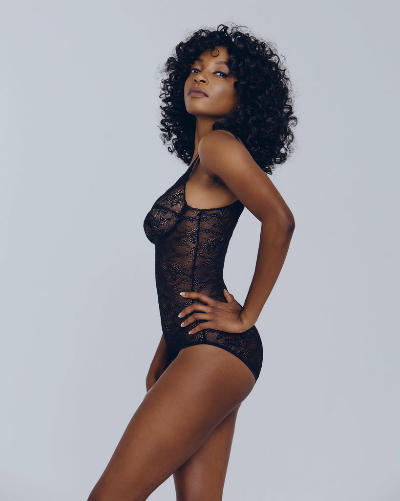 Black lace bodysuit from Cadolle