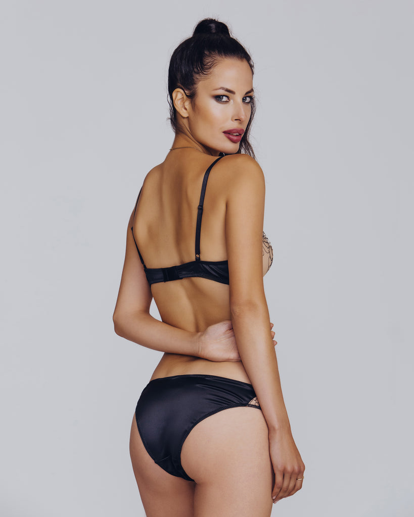 Matching bikini panty from Camille Roucher has a sheer embroidered mesh front and simple silk rear