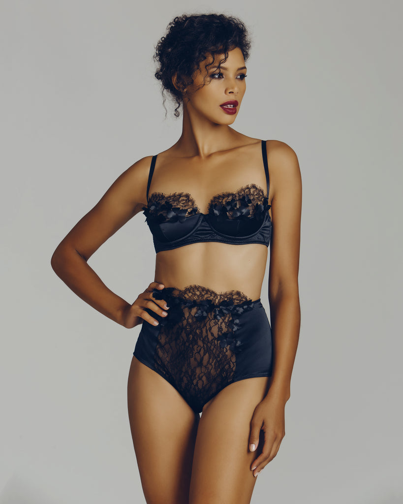 Black silk & lace lingerie set from Camille Roucher is embellished with hand-stitched black silk flowers, each affixed with a tiny burgundy glass bead