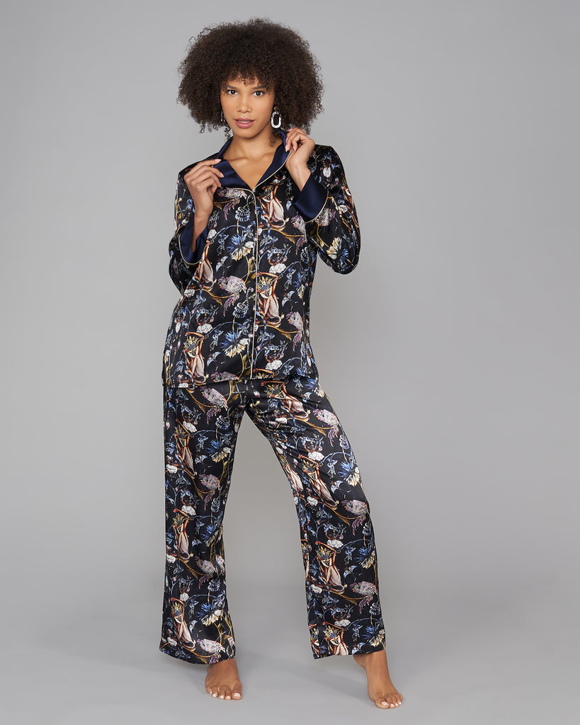 Christine Vancouver's Darwin silk pajamas have a matching trouser with an elasticized drawstring waist