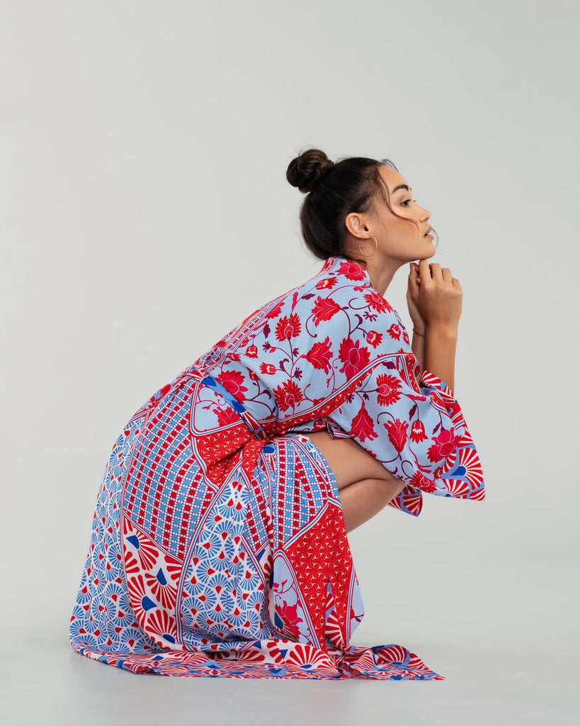 Christine Vancouver's Origami robe has traditional wide kimono sleeves that are striking and breezy