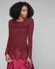 Dana Pisarra Bordeaux Rib Silk Top with Soutache Detailing