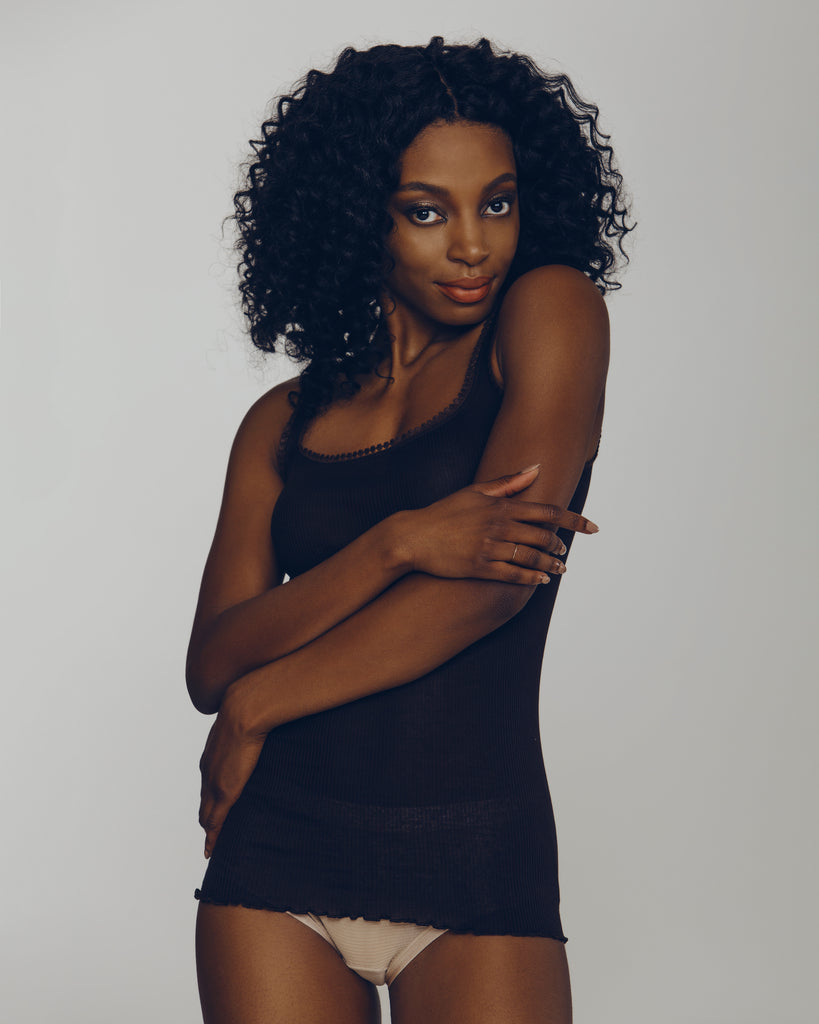 Chocolate brown ribbed cotton camisole from Dana Pisarra
