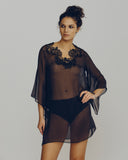 Sheer black silk chiffon tunic is lightweight and comfortable