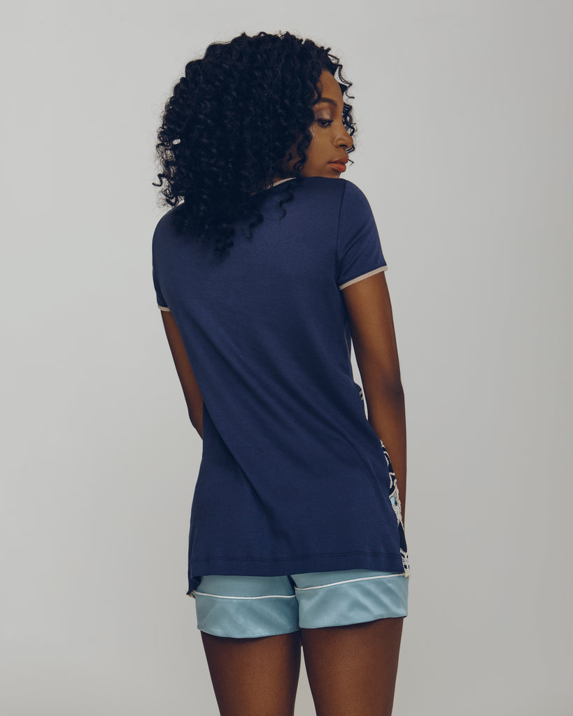 Trim Blu Cotton Tee