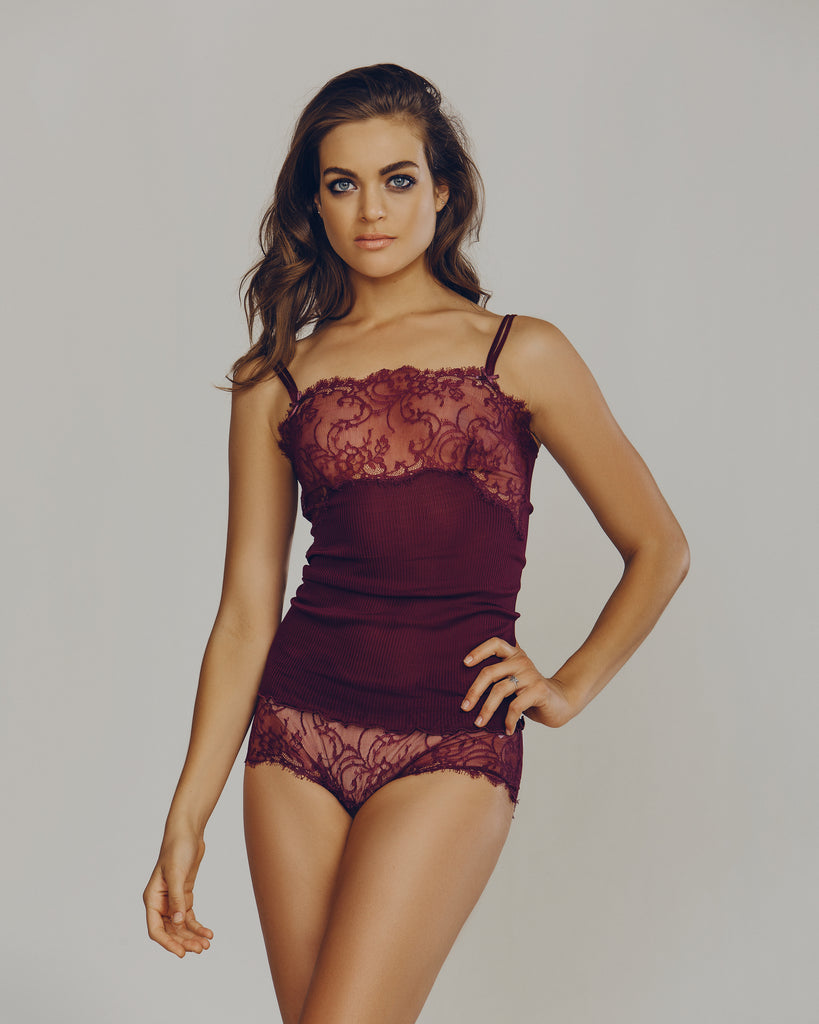 Sheer rib silk camisole stretches to hug every curve, flattering and easy to wear by Dana Pisarra