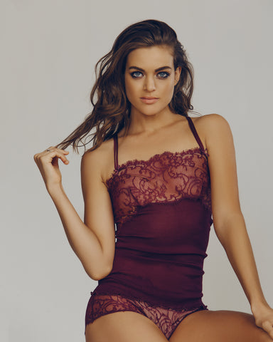 Mil Black Rib Silk and Lace Camisole