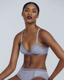 Ultra soft dove grey lingerie set from Epure has a non-underwired bra and matching brief