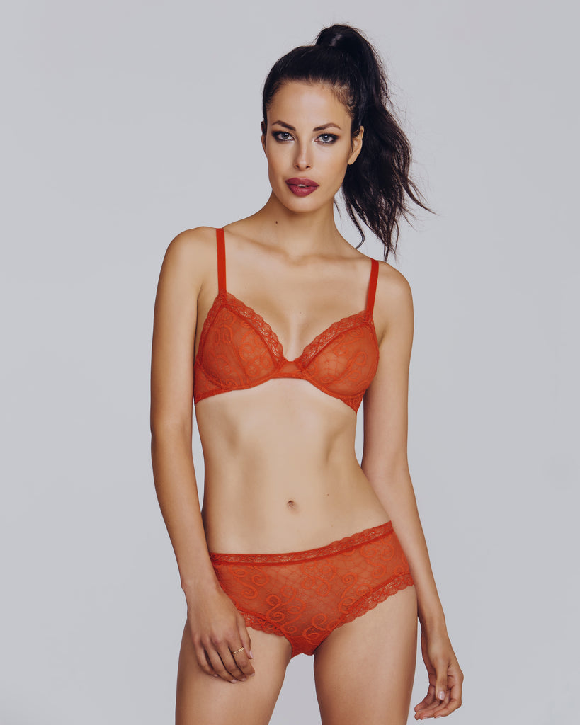 Sheer Sexy Baroque orange calais lace lingerie set by Epure is detailed with arabesque swirls