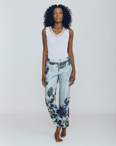 Tropical Wallpaper Cuffed Etere Pants