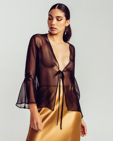 Midnight Cognac Long Robe