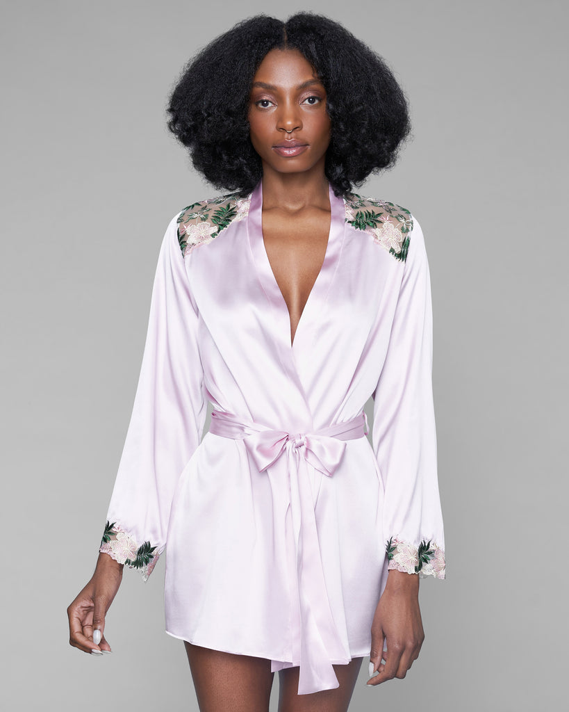 Gilda & Pearl's Chelsea Garden robe has pink and green floral embroidered insets at the shoulders and sleeves