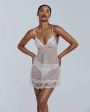 Deshabille babydoll has French lace accenting at the cups and hem