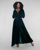 Emerald green silk velvet robe from Gilda & Pearl has long sleeves and a full circle skirt