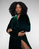 The interior of Gilda & Pearl's Garland silk velvet robe is entirely lined in emerald green silk