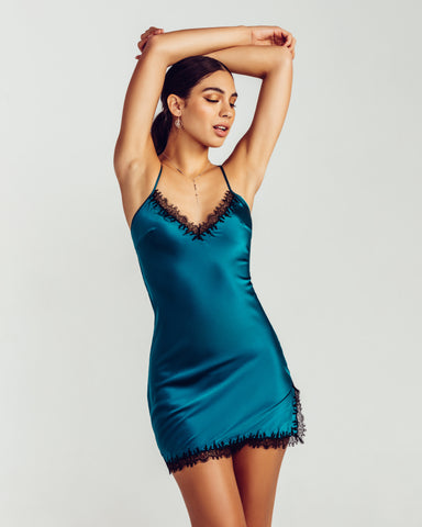 Ophelia Emerald Silk Camisole Set