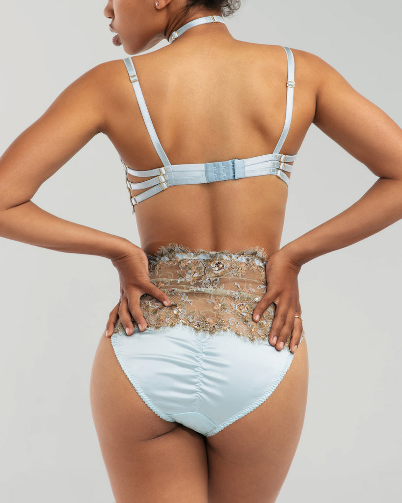 Karolina Laskowska Eos couture matching high-waisted panty shows off a wide swath of lace with a silk gusset, ruched silk rear, freshwater pearl charm at the front, and a Swarovski crystal button opening at one hip for ease of wear