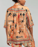 Klements Chihuahuan Desert silk blouse is cut loose through the body with a box pleat at the back