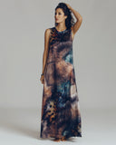 Floor-length Klements dress is fully printed silk charmeuse