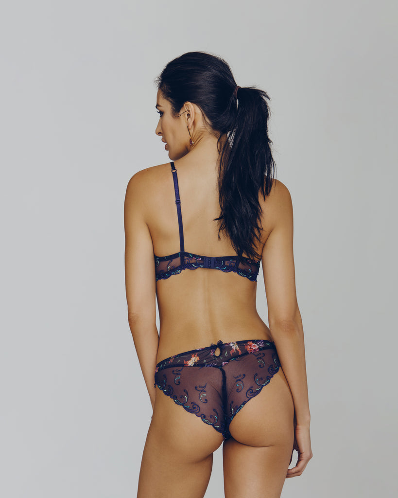 Lise Charmel Fete de Venise high-leg bikini panty is cheeky and comfortable with a patterned mesh front and an embroidered appliqué rear