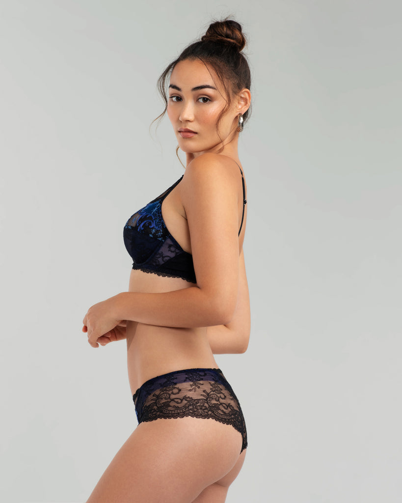Underwired non-lined Fete Precieuse bra from Lise Charmel has a three-part seamed cup with an interior tulle sling for shape and support