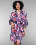 Lavender burnout silk robe from Lise Charmel with a feminine cherry blossom floral print in shades of red, pink, purple, white and green