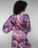 Lise Charmel's Reve Orchidee burnout silk robe has lace appliqué at the 3/4 sleeves