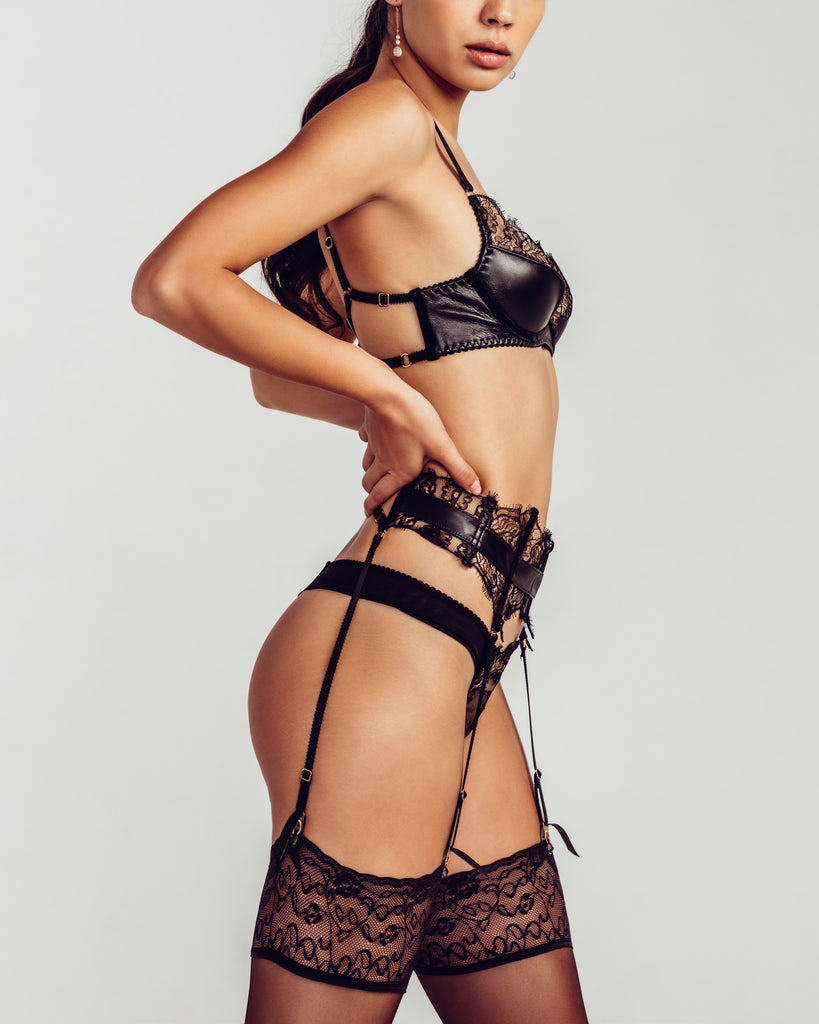 Leather, lace and velvet Koressia garterbelt from Loveday London has removable garter straps