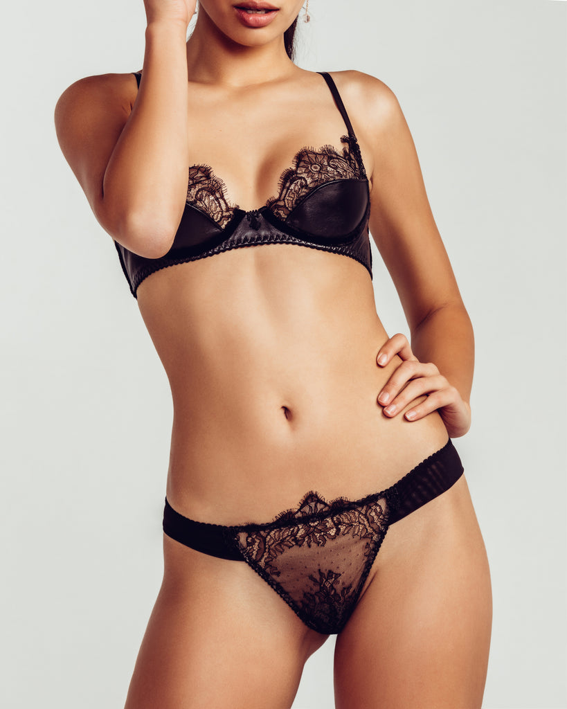 Koressia underwired bra has lightly padded leather cups with lace accenting and silk velvet underwire channels