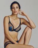 Sheer black lace & cornflower blue silk bra in a wearable plunge shape from Madame Aime