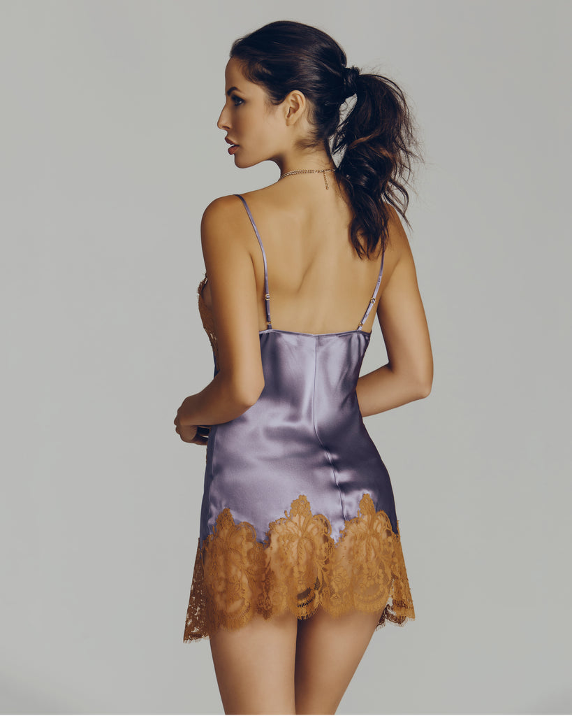 Lilac silk and Caramel lace decorate this silk chemise from Marjolaine