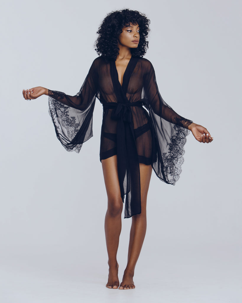 Sheer silk chiffon robe by Merle Noir has lace accenting at the traditional vented kimono sleeves