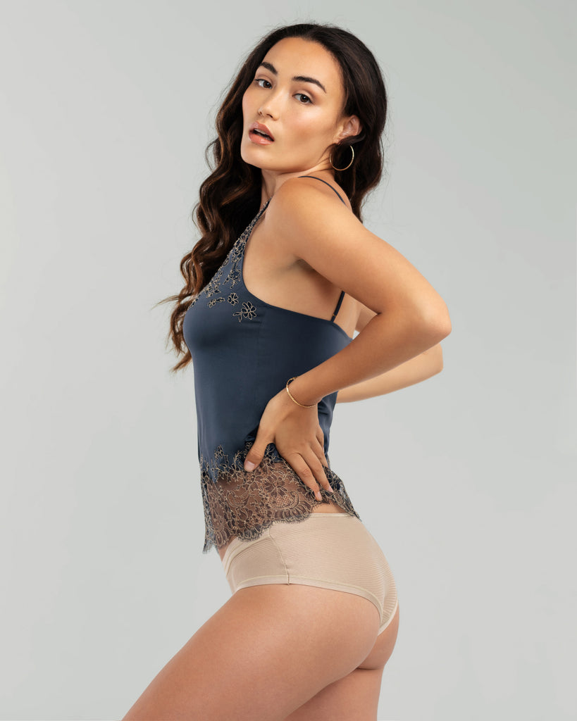 Dark greyish-blue silk camisole from Merle Noir is accented with delicate navy floral lace with gold accents