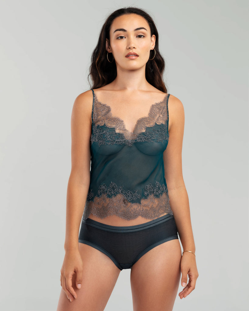 Sheer teal blue silk chiffon camisole from Merle Noir is accented with swaths of painstakingly appliquéd grey floral lace
