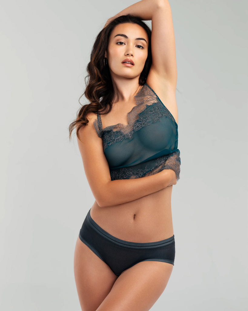 Teal Sheer Silk Camisole